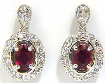 2.96CT Natural Oval Bright Purple Red Ruby Diamond Dangle Earrings 14KT