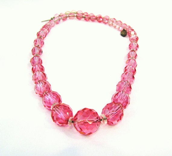 pink necklace 17 inch necklace vintage by