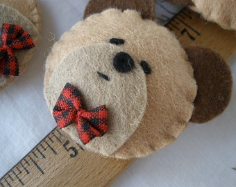 """Plaid Bow Tie Bear Felt Appliques 6 pieces embellishment 3D Craft Accent scrapbooking 1.75"""" puffy sweet party favor tag supply"""