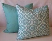 Aqua Pillow Covers in Lattice and Solid Aqua Fabric