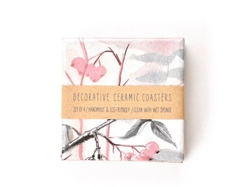 Nature Watercolors Cranberry Ceramic Tile Coasters Blush Pink Grey Pastels Autumn, set of 4