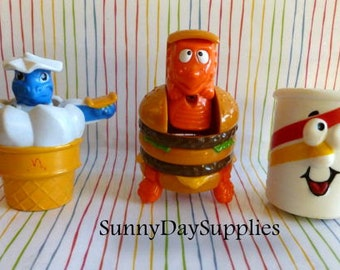 Vintage McDonalds Toys, BIG MAC, Drink On wheels, Ice Cream Cone, Robots, Dinosaurs, Changeables,  Happy Meal,  Food Toys