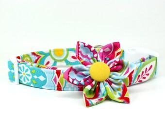 Dog Collar | Sweet Summertime Dog Collar and Removable Dog Collar Flower Set | Girl Dog Collar | Summer Dog Collar