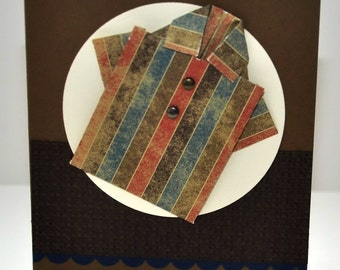 Father's day Greeting Card, For Him, Dad, Father, Grandpa, Shirt, Stripes, Brown, Blue, Red, Origami, Stamped, Blank Inside