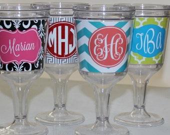 Monogrammed Wine Glass - Acrylic Wine Goblet - Personalized - Monogram gift - Choose your custom design