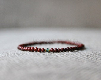 emerald wood mens bracelet - mens burgundy wood with emerald and goldplated beads small bracelet - burgundy emerald gold mens bracelet