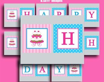 Cupcake Happy Birthday Banner Printable - Chef Baking Birthday Bunting - Sweet Little Bake Shoppe