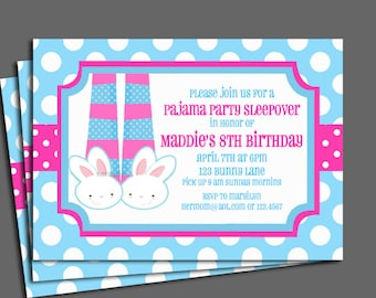 Sleepover Pajama Party Invitation Printable or Printed with FREE SHIPPING - Bunny Slipper Feet Fun