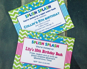 Splish Splash Invitation Printable or Printed with FREE SHIPPING - With Pink or Without - Pool Party, Water Slide, ANY Water Fun