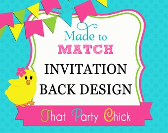 Made to Match Invitation Backside Printable