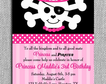 Pirate and Princess Invitation Printable or Printed with FREE SHIPPING - Tiara Sparkle Pirate Collection