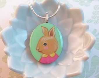 Hand Painted Rabbit with Peter Pan Collar Pendant by Megumi Lemons