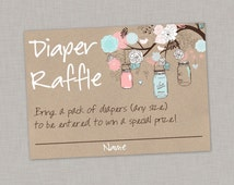 50% OFF Diaper Raffle Card, Mason Jar Diaper Raffle Card, Baby Shower, Gender Reveal