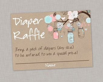 Diaper Raffle Card, Mason Jar Diaper Raffle Card, Baby Shower, Gender Reveal