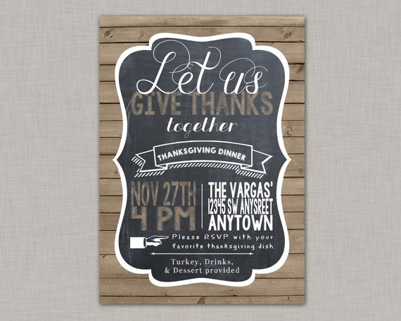 Thanksgiving Invitation Rustic Chalkboard Wood Printable One Personalized 5 X 7 Sent To You As A JPEG File And PDF Set Up With Two
