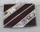 Vintage Rosewood and Abalone Belt Buckle