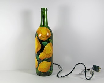Hand Painted Wine Bottle Light with Pears and Lemons, Yellow and Green Decor, Kitchen Art, Hostess Gift