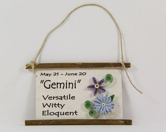 Paper Quilled Zodiac Magnet- Flattery for Gemini, May 21 to June 20, Birthday Gift, Zodiac Ornament, Astrology Sign, Zodiac Art Decor