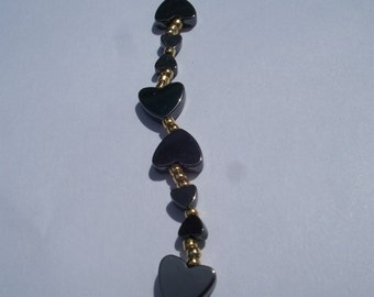 I Love You' Heart Bracelet 4 & 8mm Hematite Hearts and Gold Plated Beads