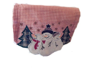 Primitive Table Runner in Rustic Warm Red with Embroidered Snowman Scallop design