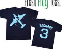 Personalized Doublesided Birthday Airplane Shirt - Any age and name - you pick your colors!