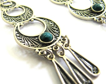Sterling Silver, Filigree, Ethnic, Chandelier Earrings, Decorated With Eilat (chrysocolla) Gemstones - ID1059