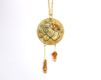 """Victorian Steampunk Necklace """"The Golden Rose of Summer"""""""