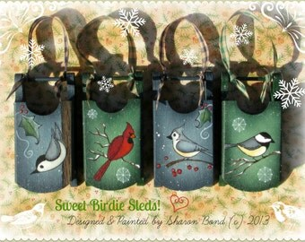 E PATTERN - Sweet Birdie Sleds! 4 Bird Designs for Ornaments, Tags, etc... Designed & Painted by Sharon Bond - FAAP