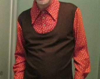 1960s Wild Disco Vest Shirt Large Pullover  / 60s Men Orange Brown Polka Dot Shirt