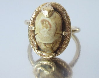 Antique Victorian SNAKE Holding an Ancient Egyptian Scarab Beetle 14K Ring. Egyptian Revival.
