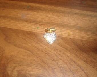 vintage pin brooch rhinestone apple