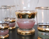 1950s Bohemian Czech Glass Decanter and Glasses