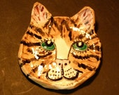 Sweet Cat Dish hand made in US  Custom Orders welcome of your favorite fur friend