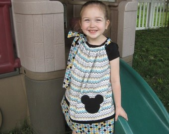 Mickey Mouse Pillowcase Dress, Mickey Mouse Dress, Black, Teal, Gold and Cream Chevron and Polka Dots, Disney Inspired, Size 6 mos to 14