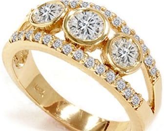 Diamond 2.10CT Three Stone Ring 14K Yellow Gold