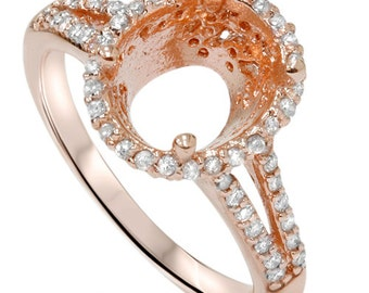 Rose Gold Diamond Vintage Engagement Ring Halo Semi Mount Oval stone Setting 14 Karat Size 4-9 Fits 10x8MM