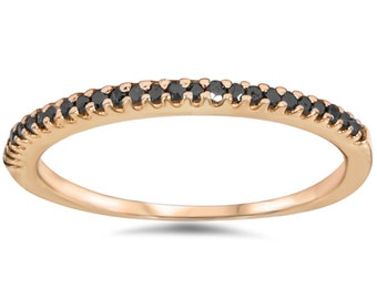 Black Diamond .15CT Stackable Ring Wedding Womens 14K Rose Gold Band Size 4-9