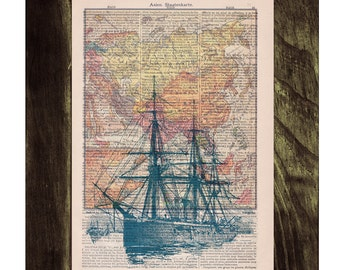 Summer Sale Old ship map  Print on Vintage Encyclopedic Dictionary Book page-  Home decor wall art SEA091