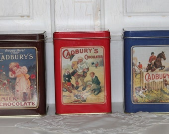 "3 Cadbury""s Chocolates Tins, Farmhouse, Country / Collectible  Tins / Country Storage"