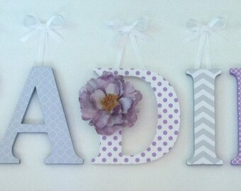 Alphabet wooden letters for nursery in lavender, gray and white spelling out your child's name letters stand up initial monogram