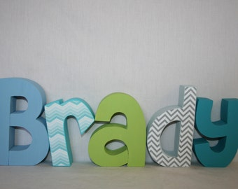 Nursery letters, Ombre letters, 5 letter set, Wood letters, Nursery decor, Blue and green, Letters for boy, Nursery letters, Wood decor