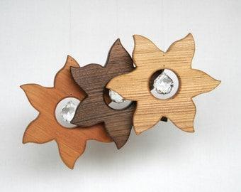 Wood and Crystal Suncatcher - Home Decor - Rainbow- Sun wooden ornament