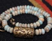 HAVEN, Beaded necklace, Imerial Jasper, Tibetan focal, brass, choker, light blue, ethnic, tribal