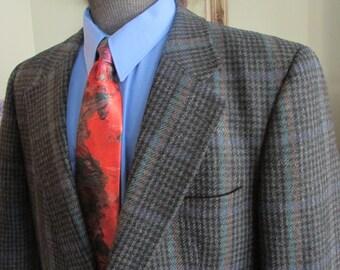 VINTAGE Mens Tweed Jacket, Size 42 Mens Tweed Blazer, Window Pane Mens Tweed,80's Era Mens Tweed Wool Tweed