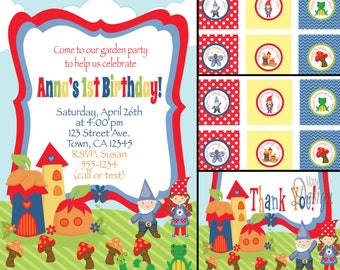 Gnome Invitation or Garden Birthday Party Invite with FREE Cupcake Tags, Favor Tags & Thank You - Digital Files