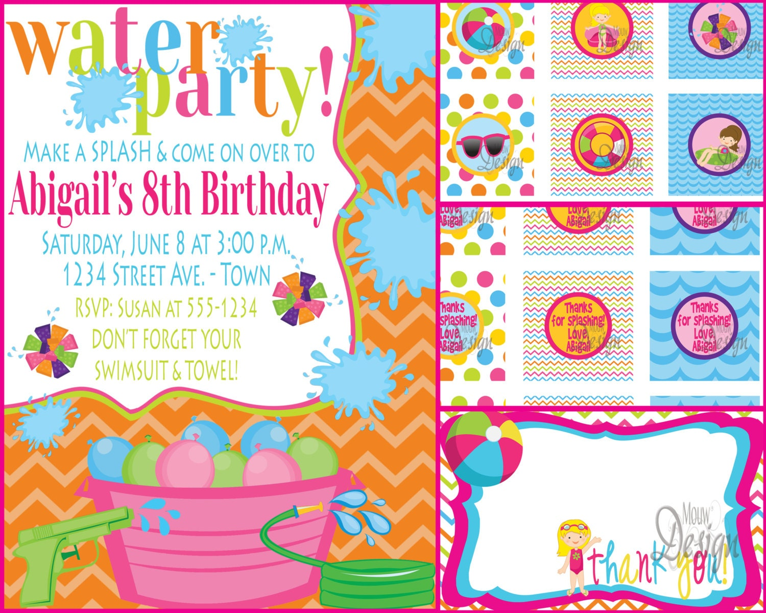 Backyard Water Birthday Party Invite with FREE by MouwDesigns