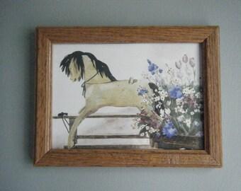 Rocking Horse Framed Print  8x6 Art, Vintage Nursery, Cottage Wall Decor