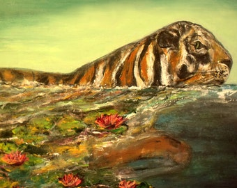 Signed Art Print Tiger and Water Lilly Flowers