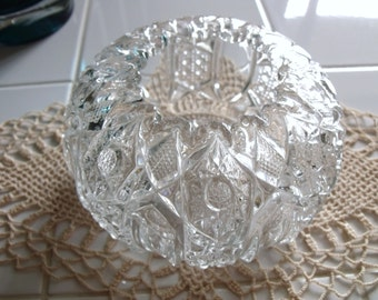 "McKee Glass Company  ""Quintec"" Pattern #66 Crystal Rose Bowl - EAPG"