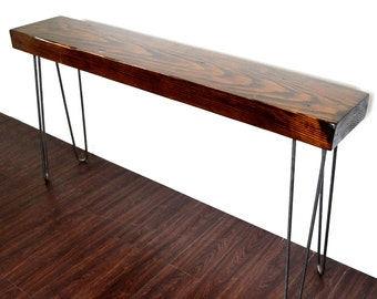 Console Table Reclaimed Wood Beam On Hairpin Legs